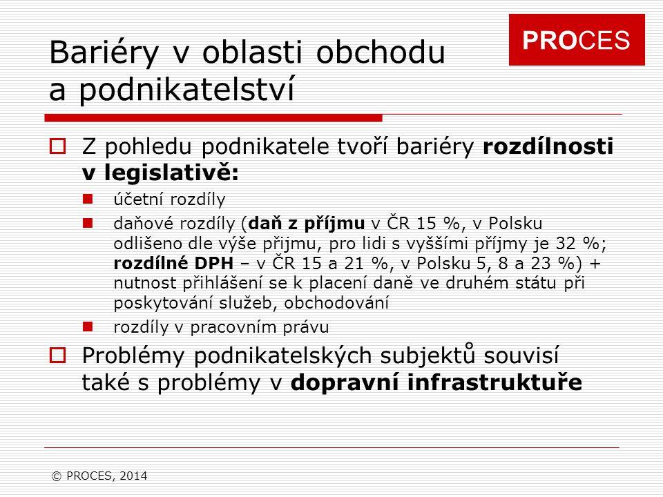 PROCES Bariéry v oblasti obchodu a podnikatelství  Z pohledu podnikatele tvoří bariéry rozdílnosti v legislativě: účetní rozdíly daňové rozdíly (daň z příjmu v ČR 15 %, v Polsku odlišeno dle výše přijmu, pro lidi s vyššími příjmy je 32 %; rozdílné DPH – v ČR 15 a 21 %, v Polsku 5, 8 a 23 %) + nutnost přihlášení se k placení daně ve druhém státu při poskytování služeb, obchodování rozdíly v pracovním právu  Problémy podnikatelských subjektů souvisí také s problémy v dopravní infrastruktuře © PROCES, 2014