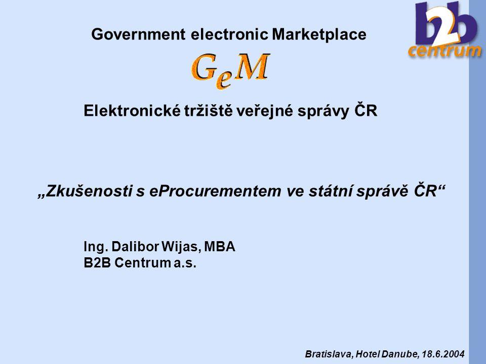 Akciová společnost založena v únoru 2000 s cílem podnikat v oblasti elektronického obchodování v podnikové sféře a státní správě, 4.10.2000 - B2B Centrum spouští Intelligo - první B2B e-tržiště pro podnikovou sféru ve střední Evropě, 10-12/2001 - pilotní projekt GeM – Úřad pro veřejné informační systémy, 1.9.2002 - zahájen provoz GeM - první elektronické tržiště pro veřejnou správu v ČR, 12/2002 – celkový objem realizovaných obchodů na GeM více než 96 miliónů Kč, 12/2003 – celkový objem realizovaných obchodů na GeM za rok 2003 dosahuje 568 miliónů Kč, 1/2004 – B2B Centrum se stává partnerem firmy Ariba pro Česku Republiku a Slovensko.