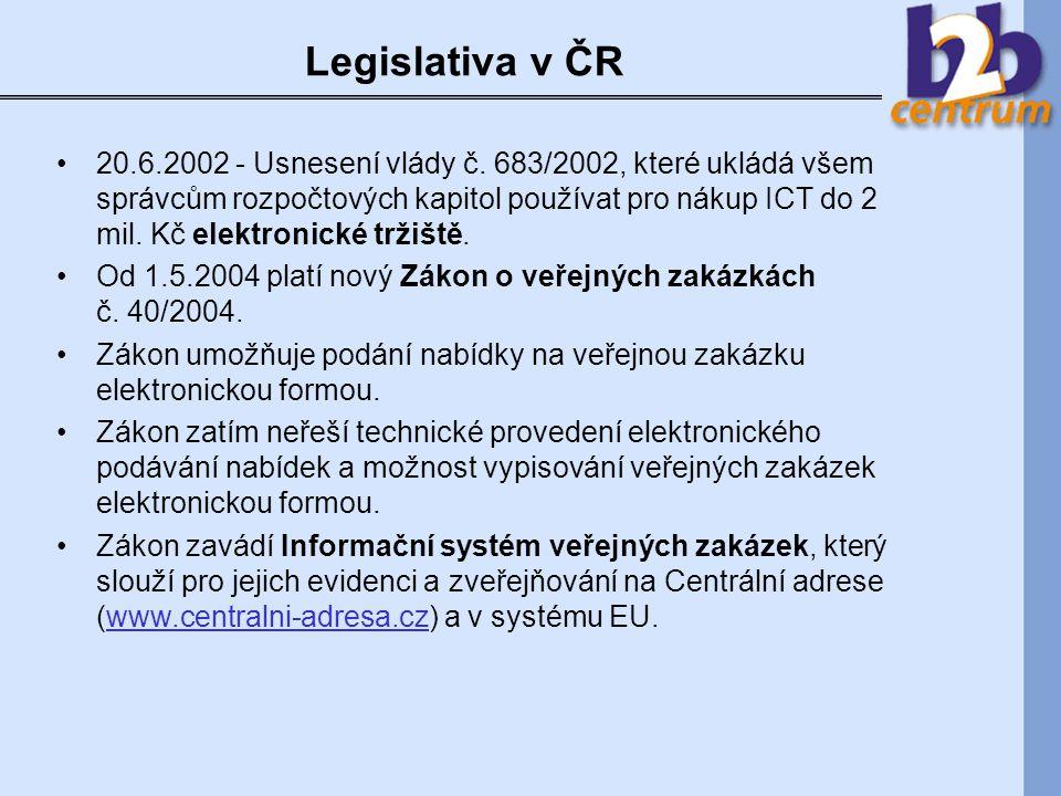 Elektronické tržiště veřejné správy Funguje na základě Usnesení vlády č.