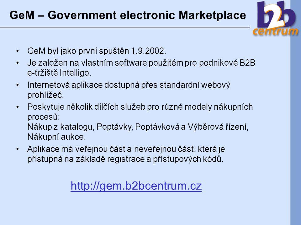 GeM – Government electronic Marketplace GeM byl jako první spuštěn 1.9.2002.