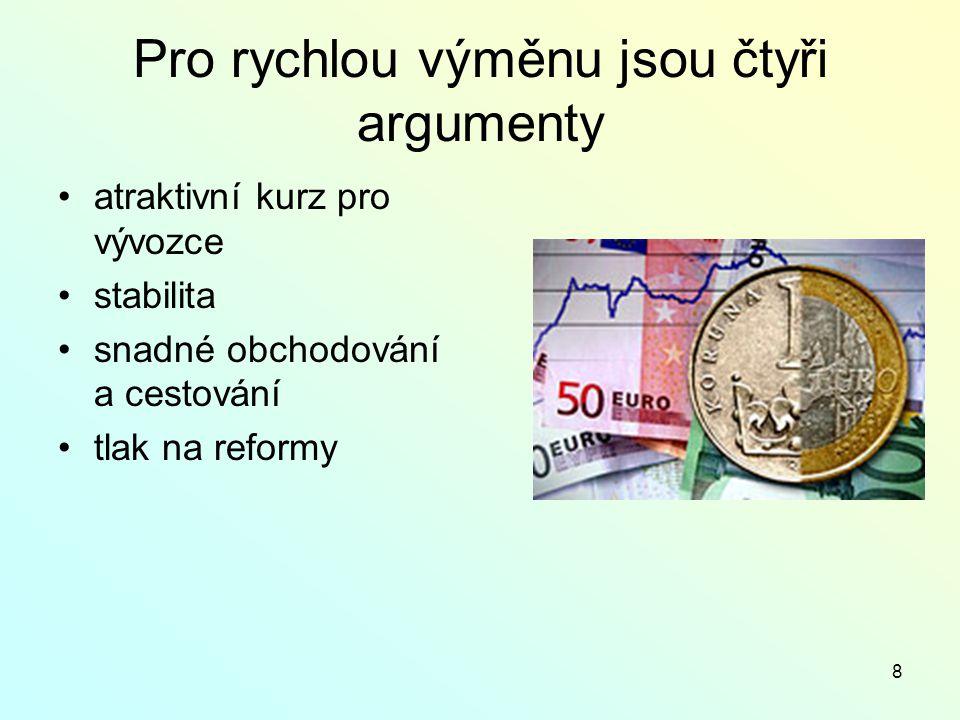 8 Pro rychlou výměnu jsou čtyři argumenty atraktivní kurz pro vývozce stabilita snadné obchodování a cestování tlak na reformy