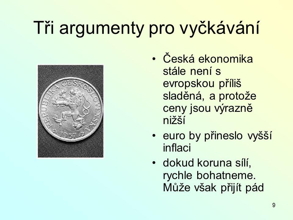 9 Tři argumenty pro vyčkávání Česká ekonomika stále není s evropskou příliš sladěná, a protože ceny jsou výrazně nižší euro by přineslo vyšší inflaci dokud koruna sílí, rychle bohatneme.