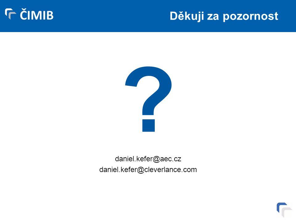 Děkuji za pozornost daniel.kefer@aec.cz daniel.kefer@cleverlance.com