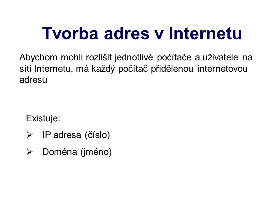 Tvorba adres v Internetu Existuje: IIP adresa (číslo) DDoména (jméno) Abychom mohli rozlišit jednotlivé počítače a uživatele na síti Internetu, má každý počítač přidělenou internetovou adresu