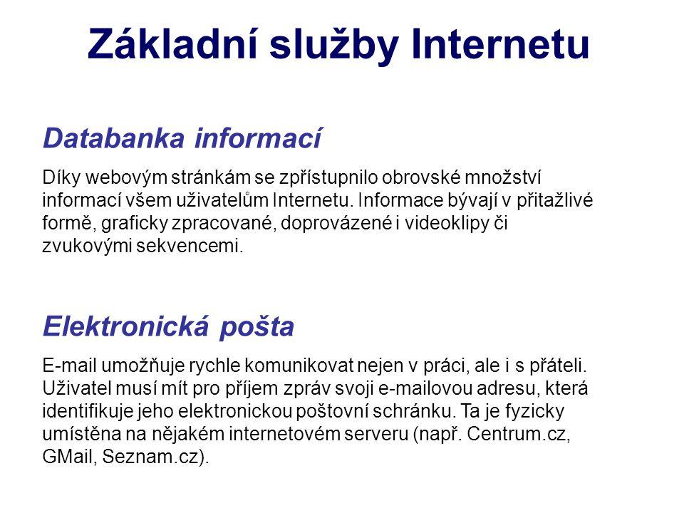 Základní služby Internetu Databanka informací Díky webovým stránkám se zpřístupnilo obrovské množství informací všem uživatelům Internetu. Informace b