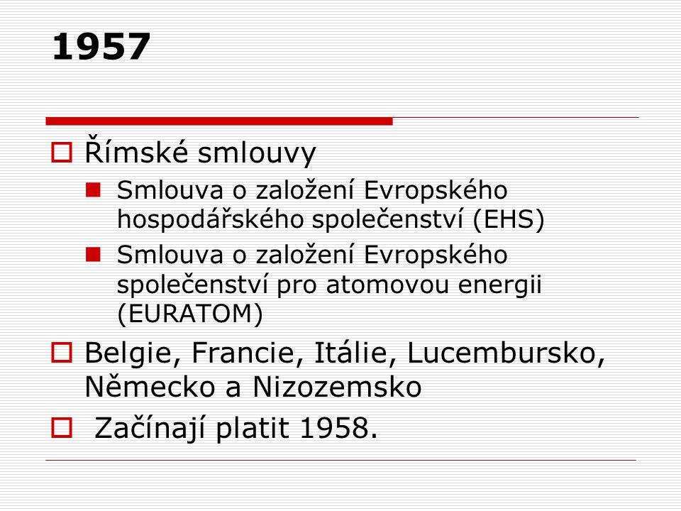 1957  Římské smlouvy Smlouva o založení Evropského hospodářského společenství (EHS) Smlouva o založení Evropského společenství pro atomovou energii (EURATOM)  Belgie, Francie, Itálie, Lucembursko, Německo a Nizozemsko  Začínají platit 1958.