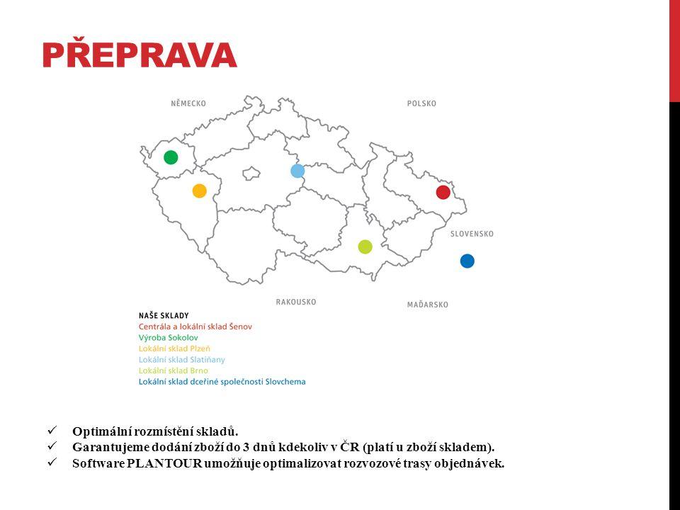 PŘEPRAVA Optimální rozmístění skladů. Garantujeme dodání zboží do 3 dnů kdekoliv v ČR (platí u zboží skladem). Software PLANTOUR umožňuje optimalizova