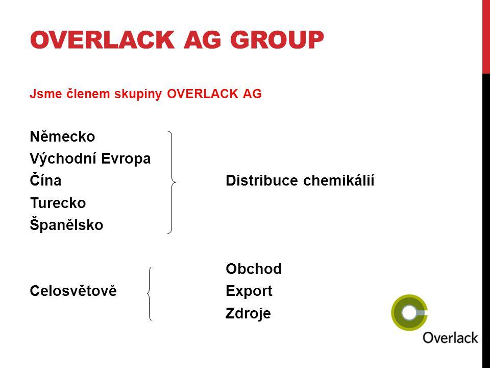 OVERLACK AG GROUP Jsme členem skupiny OVERLACK AG Německo Východní Evropa ČínaDistribuce chemikálií Turecko Španělsko Obchod CelosvětověExport Zdroje