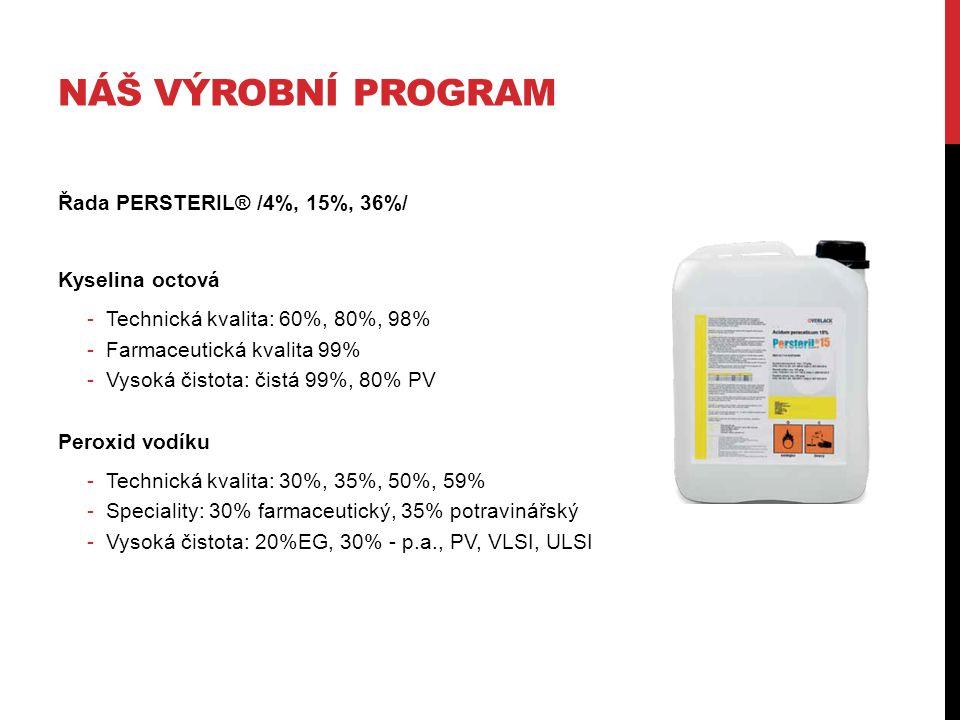 NÁŠ VÝROBNÍ PROGRAM Řada PERSTERIL® /4%, 15%, 36%/ Kyselina octová -Technická kvalita: 60%, 80%, 98% -Farmaceutická kvalita 99% -Vysoká čistota: čistá