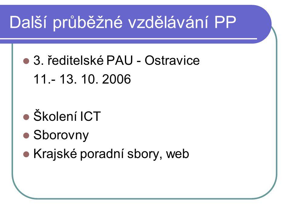 Další průběžné vzdělávání PP 3. ředitelské PAU - Ostravice 11.- 13. 10. 2006 Školení ICT Sborovny Krajské poradní sbory, web