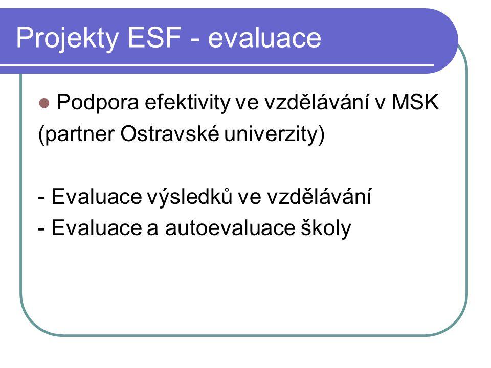 Projekty ESF - evaluace Podpora efektivity ve vzdělávání v MSK (partner Ostravské univerzity) - Evaluace výsledků ve vzdělávání - Evaluace a autoevaluace školy