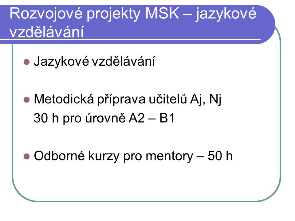 Rozvojové projekty MSK – jazykové vzdělávání Jazykové vzdělávání Metodická příprava učitelů Aj, Nj 30 h pro úrovně A2 – B1 Odborné kurzy pro mentory – 50 h