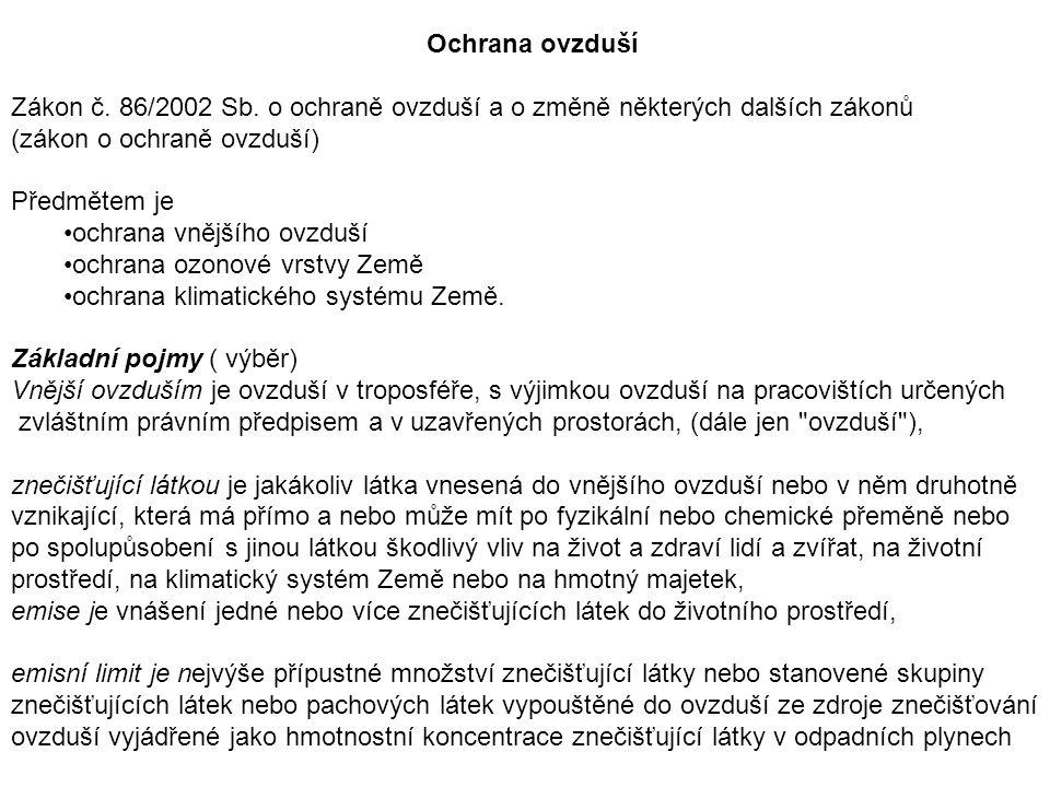 Ochrana ovzduší Zákon č.86/2002 Sb.