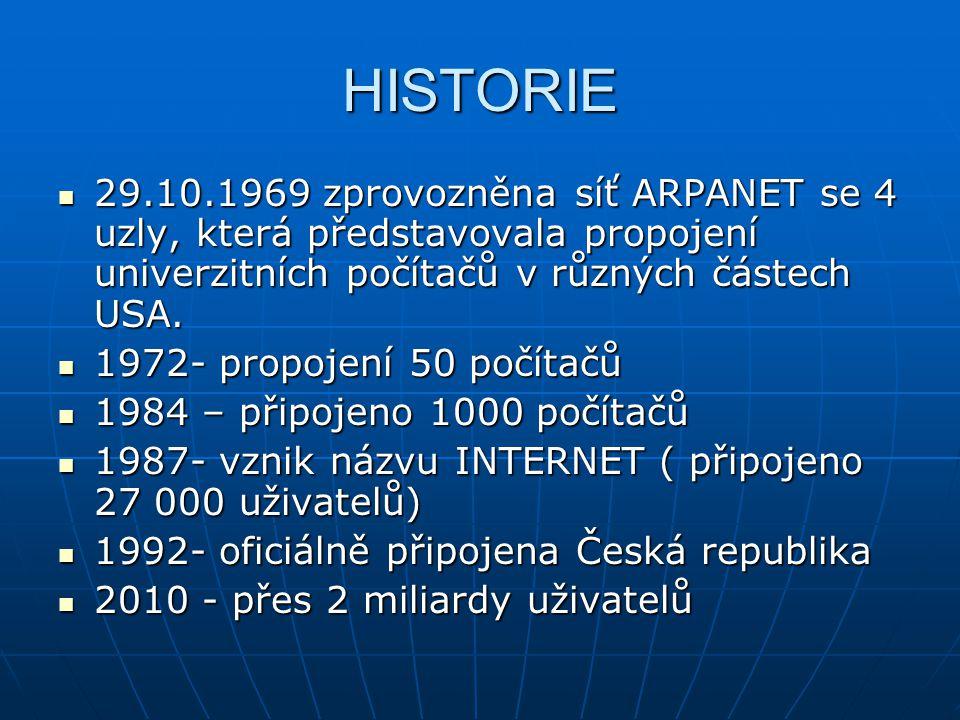 HISTORIE 29.10.1969 zprovozněna síť ARPANET se 4 uzly, která představovala propojení univerzitních počítačů v různých částech USA. 29.10.1969 zprovozn