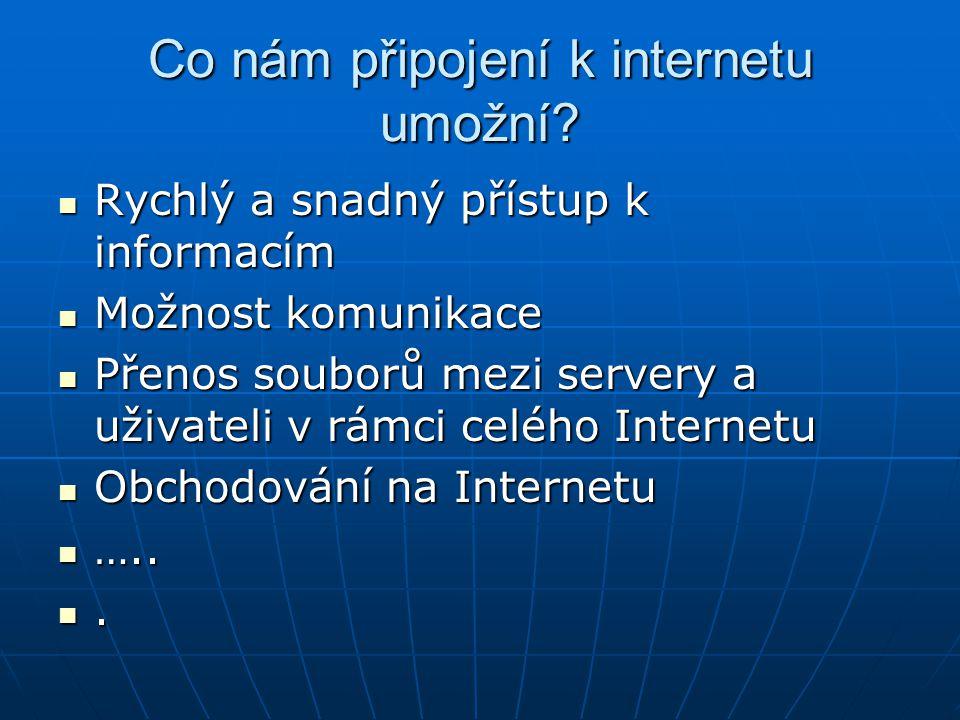 Co nám připojení k internetu umožní? Rychlý a snadný přístup k informacím Rychlý a snadný přístup k informacím Možnost komunikace Možnost komunikace P