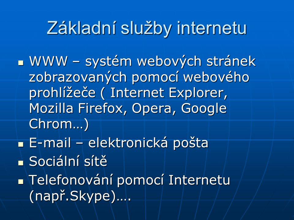 Základní služby internetu WWW – systém webových stránek zobrazovaných pomocí webového prohlížeče ( Internet Explorer, Mozilla Firefox, Opera, Google C
