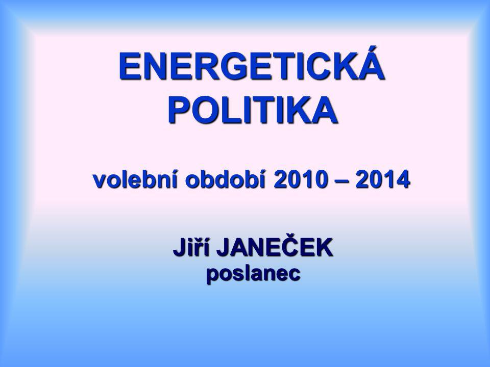 ENERGETICKÁ POLITIKA volební období 2010 – 2014 Jiří JANEČEK poslanec