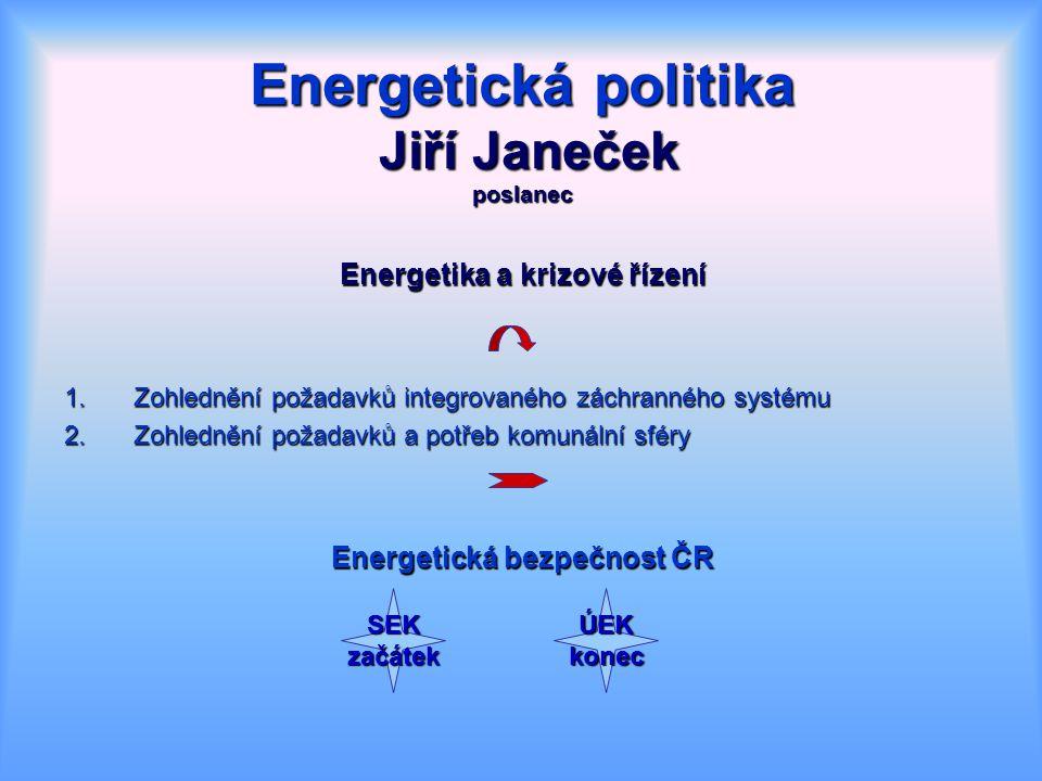 Energetika a krizové řízení 1.Zohlednění požadavků integrovaného záchranného systému 2.Zohlednění požadavků a potřeb komunální sféry Energetická bezpečnost ČR SEKzačátekÚEKkonec