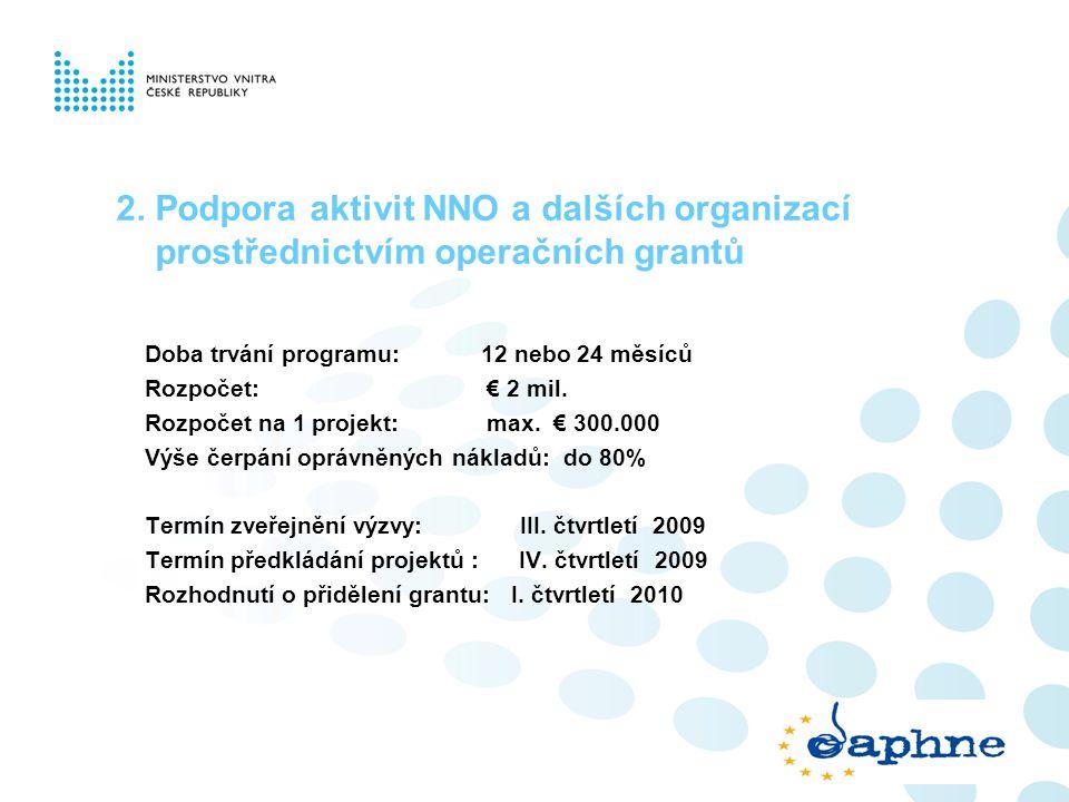 2. Podpora aktivit NNO a dalších organizací prostřednictvím operačních grantů Doba trvání programu: 12 nebo 24 měsíců Rozpočet: € 2 mil. Rozpočet na 1