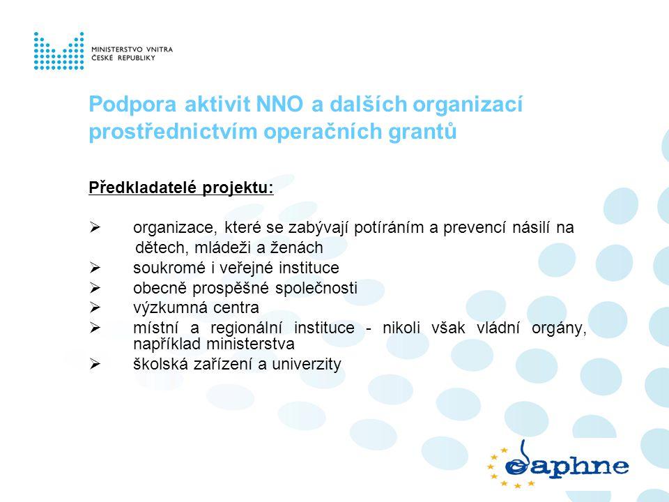 Podpora aktivit NNO a dalších organizací prostřednictvím operačních grantů Předkladatelé projektu:  organizace, které se zabývají potíráním a prevenc