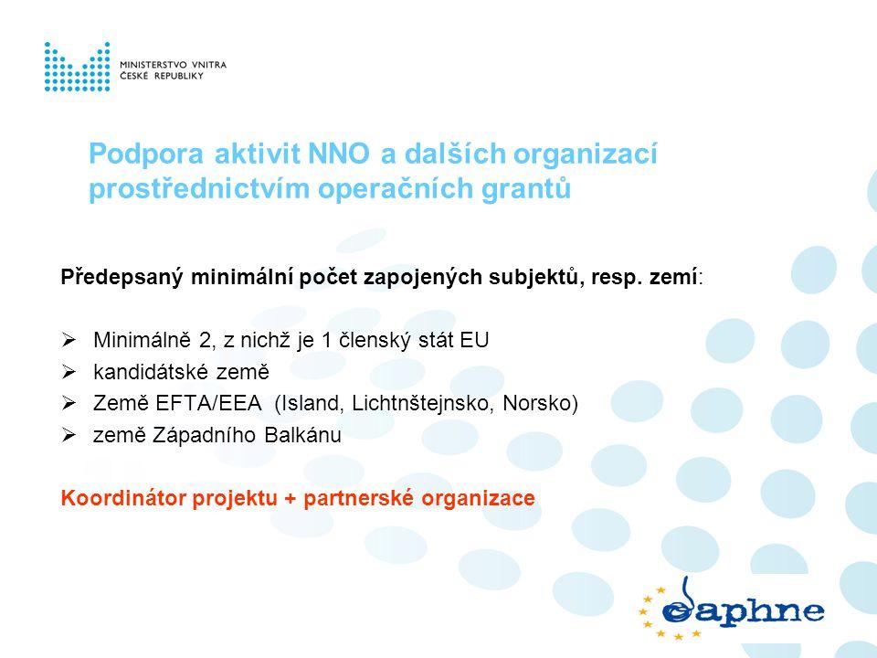 Podpora aktivit NNO a dalších organizací prostřednictvím operačních grantů Předepsaný minimální počet zapojených subjektů, resp. zemí:  Minimálně 2,