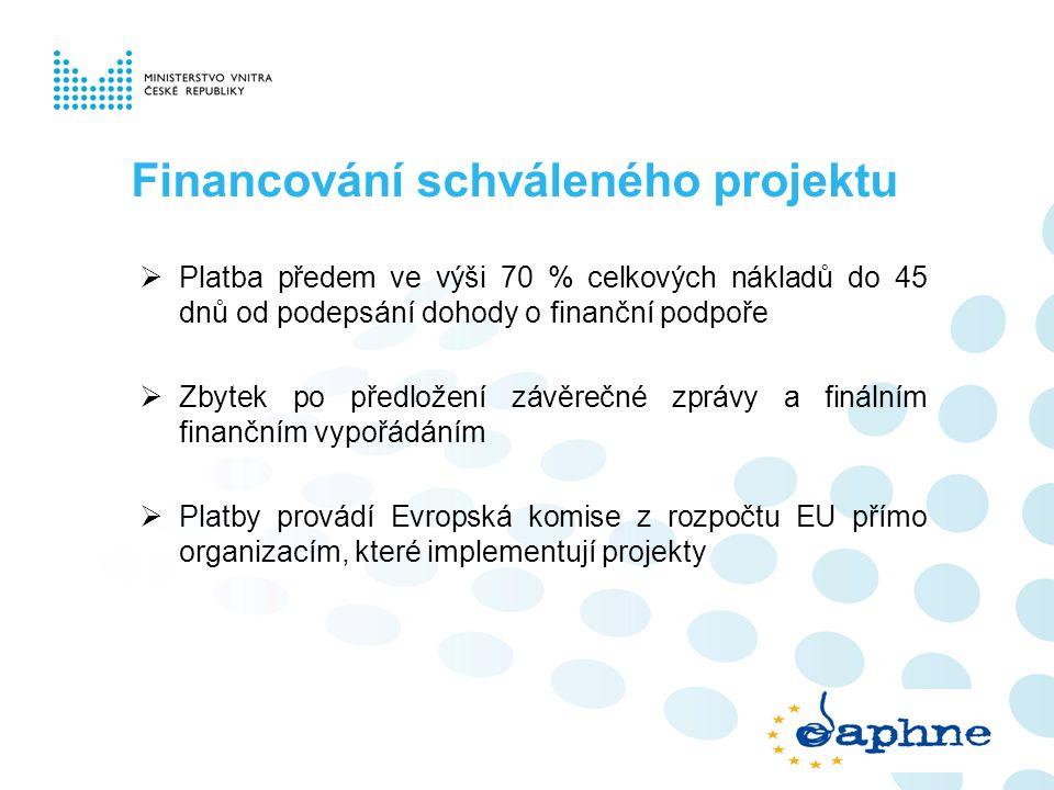 Financování schváleného projektu  Platba předem ve výši 70 % celkových nákladů do 45 dnů od podepsání dohody o finanční podpoře  Zbytek po předložen