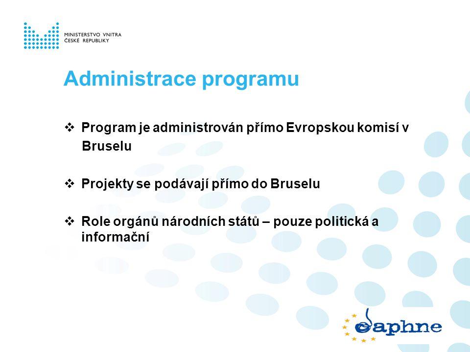 Administrace programu  Program je administrován přímo Evropskou komisí v Bruselu  Projekty se podávají přímo do Bruselu  Role orgánů národních stát