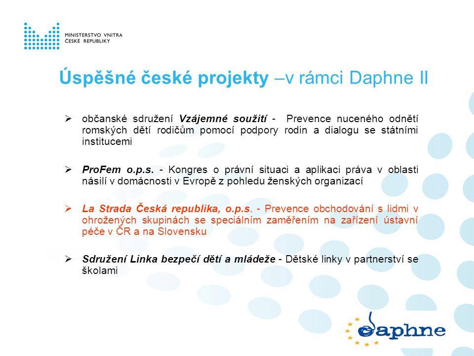 Úspěšné české projekty –v rámci Daphne II  občanské sdružení Vzájemné soužití - Prevence nuceného odnětí romských dětí rodičům pomocí podpory rodin a
