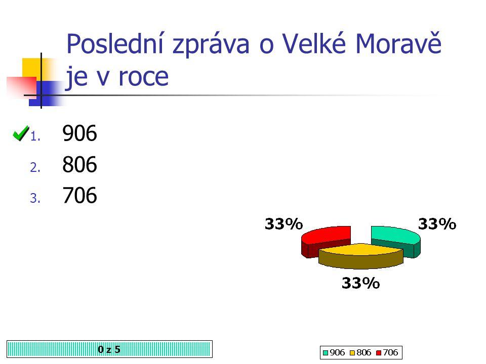 Který kočovný kmen ukončil existenci Velké Moravy? 0 z 5 1. Hunové 2. Avaři 3. Maďaři