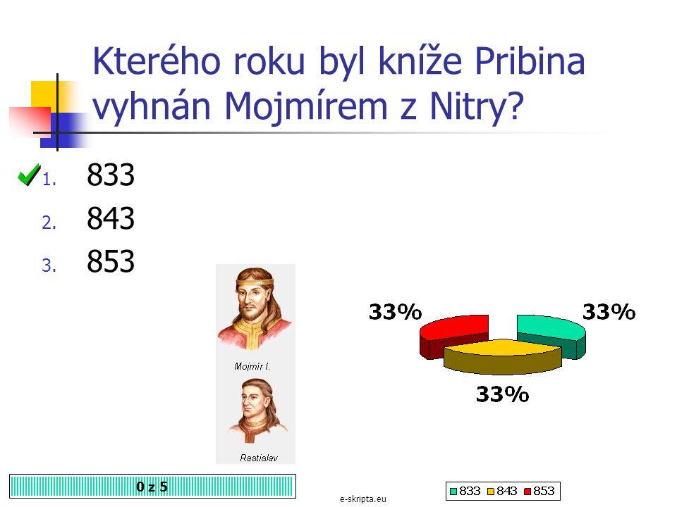 Prvním historicky známým vládcem Velké Moravy byl kníže 0 z 5 1.