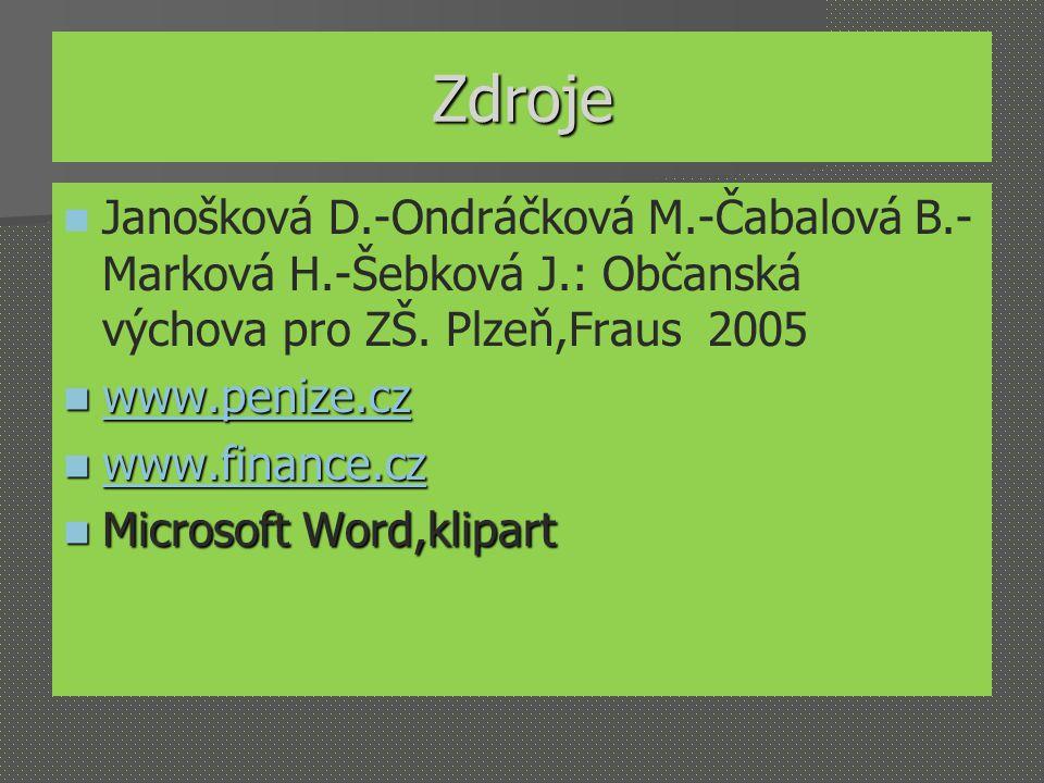 Zdroje Janošková D.-Ondráčková M.-Čabalová B.- Marková H.-Šebková J.: Občanská výchova pro ZŠ. Plzeň,Fraus 2005 www.penize.cz www.penize.cz www.penize