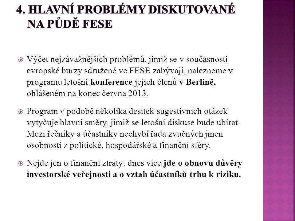  Výčet nejzávažnějších problémů, jimiž se v současnosti evropské burzy sdružené ve FESE zabývají, nalezneme v programu letošní konference jejich člen