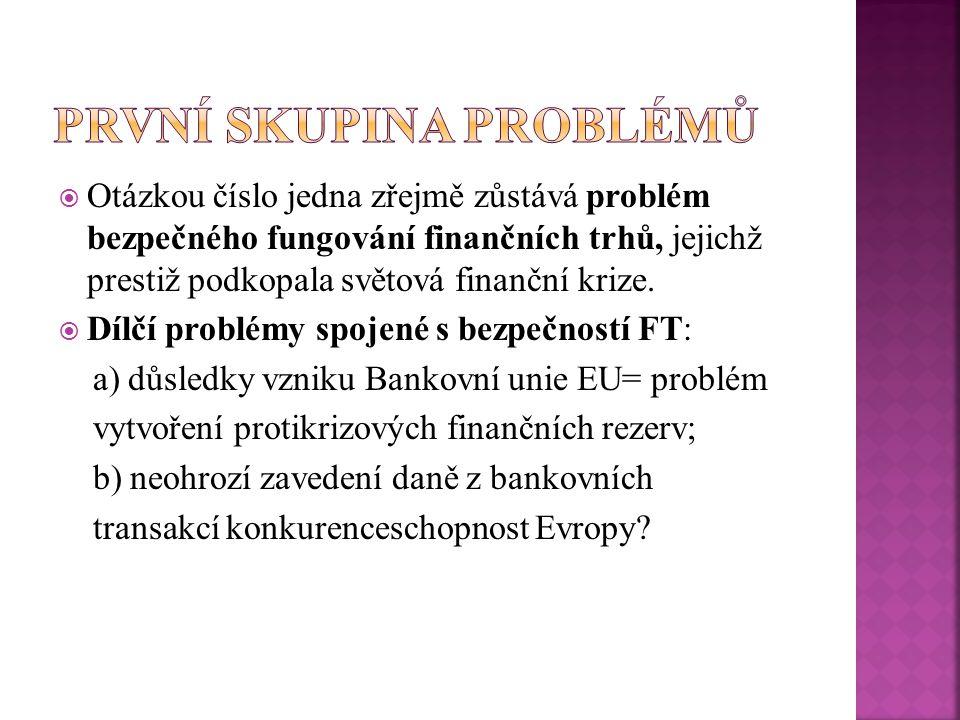  Otázkou číslo jedna zřejmě zůstává problém bezpečného fungování finančních trhů, jejichž prestiž podkopala světová finanční krize.  Dílčí problémy