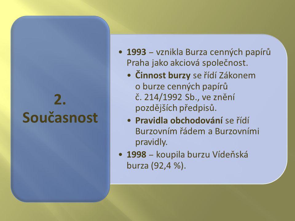 1993 – vznikla Burza cenných papírů Praha jako akciová společnost. Činnost burzy se řídí Zákonem o burze cenných papírů č. 214/1992 Sb., ve znění pozd