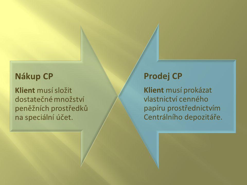 Nákup CP Klient musí složit dostatečné množství peněžních prostředků na speciální účet. Prodej CP Klient musí prokázat vlastnictví cenného papíru pros