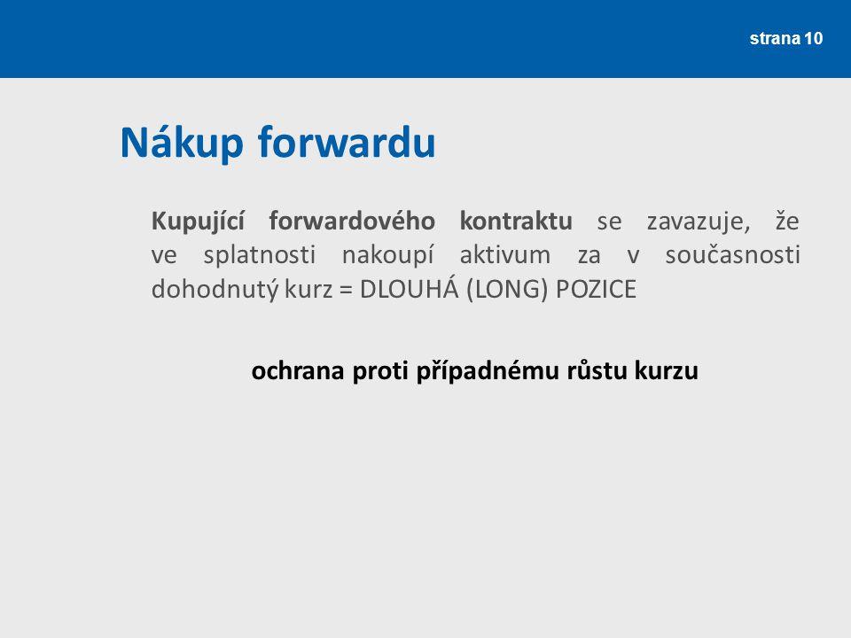 strana 10 Nákup forwardu Kupující forwardového kontraktu se zavazuje, že ve splatnosti nakoupí aktivum za v současnosti dohodnutý kurz = DLOUHÁ (LONG)