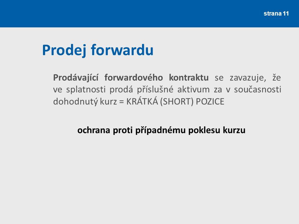 strana 11 Prodej forwardu Prodávající forwardového kontraktu se zavazuje, že ve splatnosti prodá příslušné aktivum za v současnosti dohodnutý kurz = K