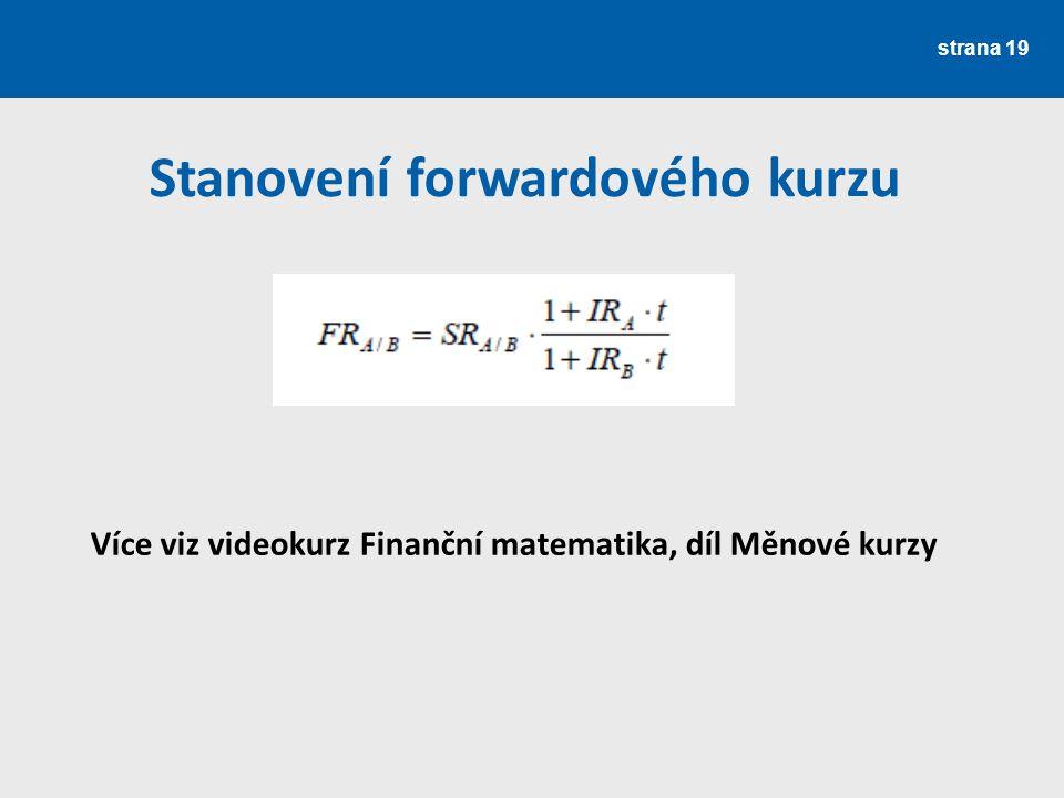 strana 19 Stanovení forwardového kurzu Více viz videokurz Finanční matematika, díl Měnové kurzy