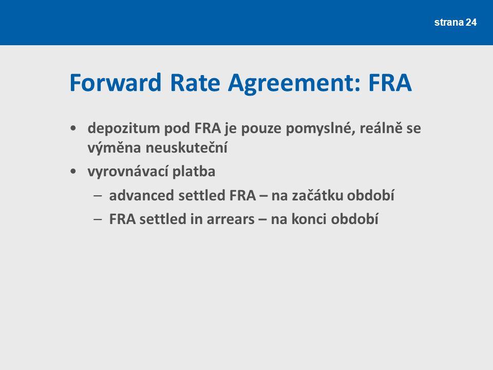 strana 24 Forward Rate Agreement: FRA depozitum pod FRA je pouze pomyslné, reálně se výměna neuskuteční vyrovnávací platba –advanced settled FRA – na