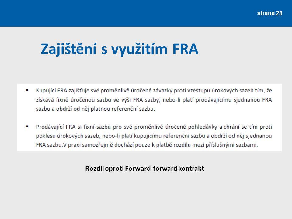 strana 28 Zajištění s využitím FRA Rozdíl oproti Forward-forward kontrakt