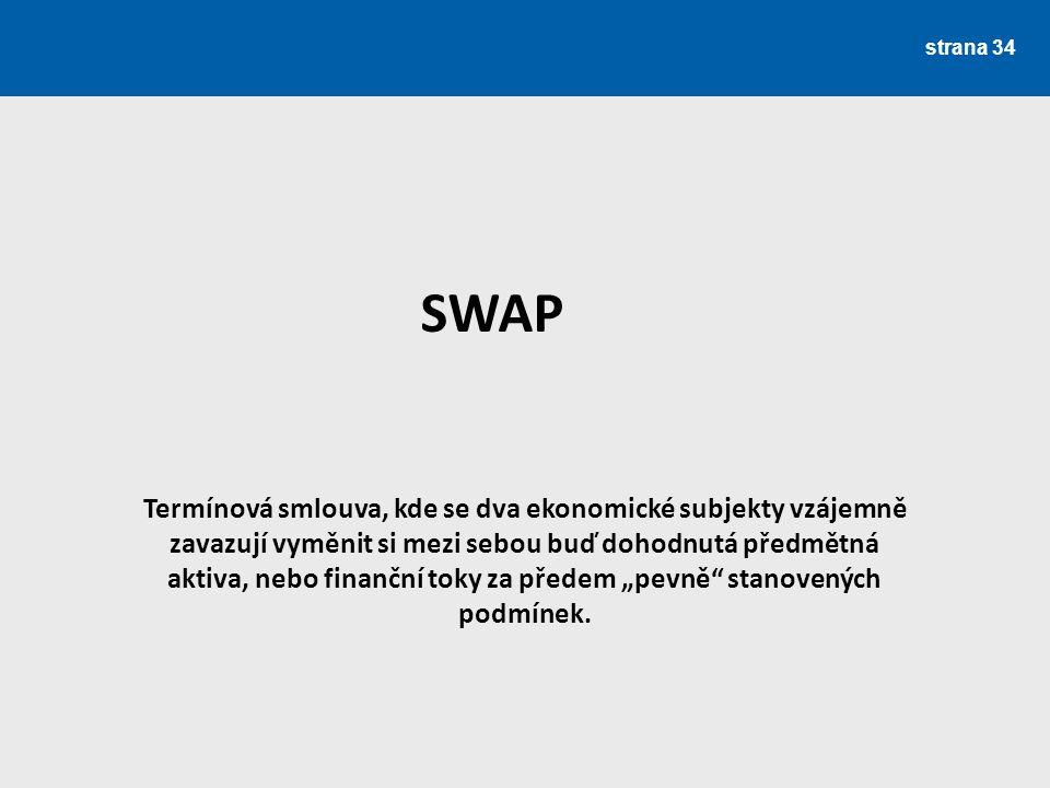 strana 34 SWAP Termínová smlouva, kde se dva ekonomické subjekty vzájemně zavazují vyměnit si mezi sebou buď dohodnutá předmětná aktiva, nebo finanční