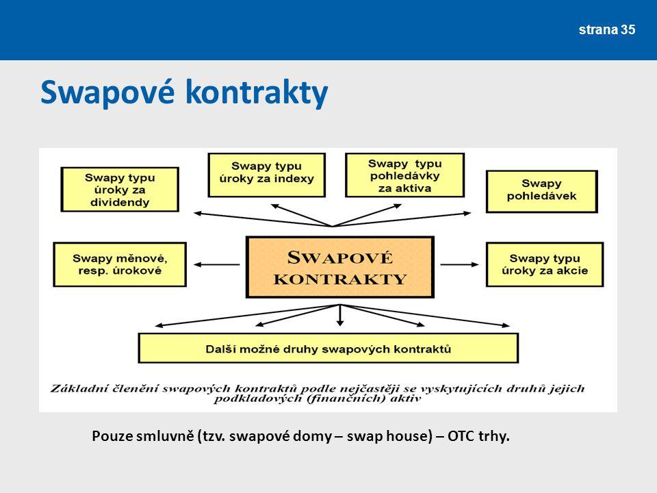 strana 35 Swapové kontrakty Pouze smluvně (tzv. swapové domy – swap house) – OTC trhy.