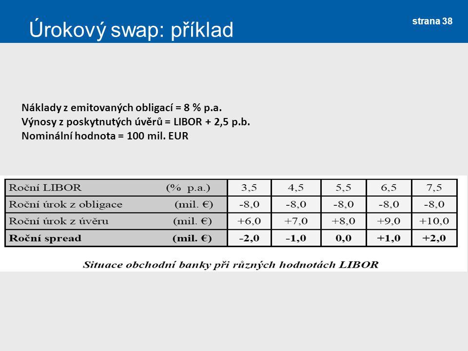 strana 38 Úrokový swap: příklad Náklady z emitovaných obligací = 8 % p.a. Výnosy z poskytnutých úvěrů = LIBOR + 2,5 p.b. Nominální hodnota = 100 mil.