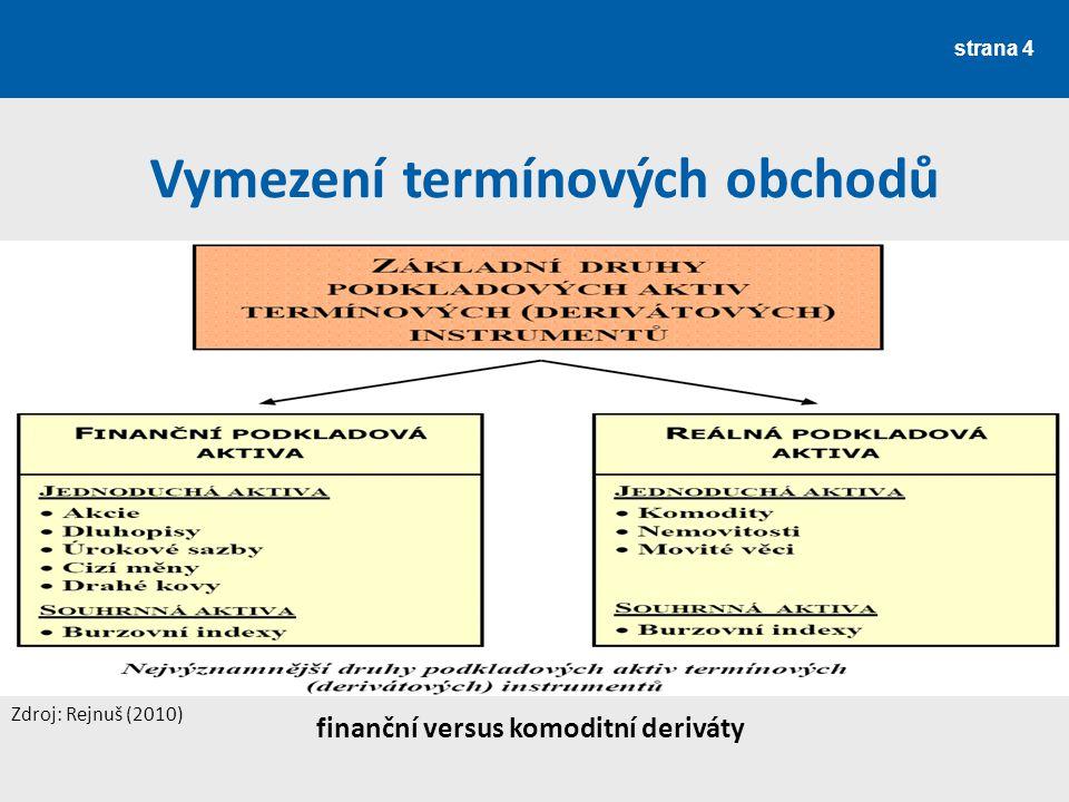 strana 4 finanční versus komoditní deriváty Vymezení termínových obchodů Zdroj: Rejnuš (2010)