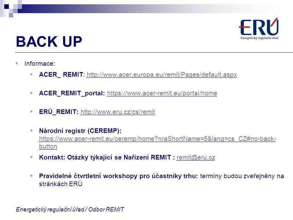 Energetický regulační úřad / Odbor REMIT BACK UP  Informace:  ACER_ REMIT: http://www.acer.europa.eu/remit/Pages/default.aspxhttp://www.acer.europa.