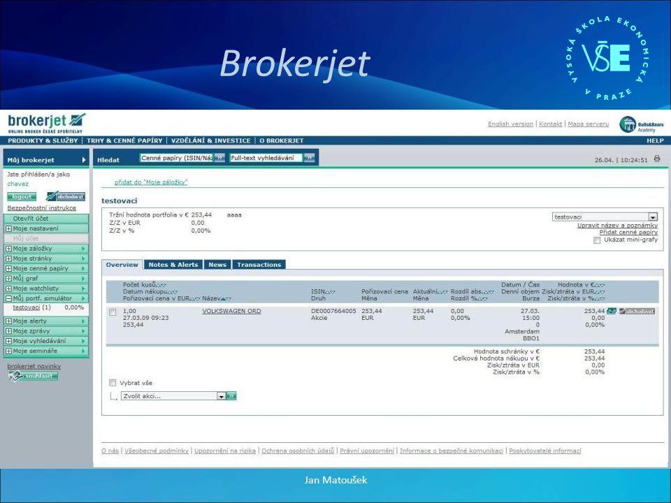 Brokerjet + Velké množství burz + Přehledný design + Velké množství informací - Graf celkového portfolia Jan Matoušek