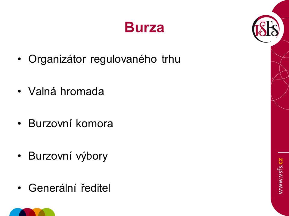 Burza Organizátor regulovaného trhu Valná hromada Burzovní komora Burzovní výbory Generální ředitel