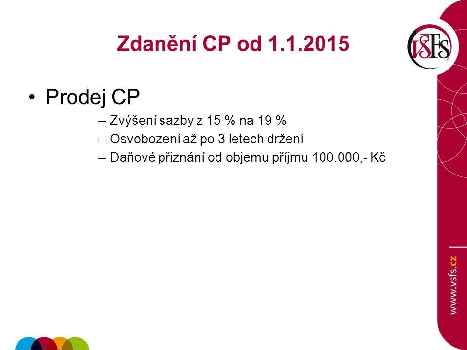 Zdanění CP od 1.1.2015 Prodej CP –Zvýšení sazby z 15 % na 19 % –Osvobození až po 3 letech držení –Daňové přiznání od objemu příjmu 100.000,- Kč
