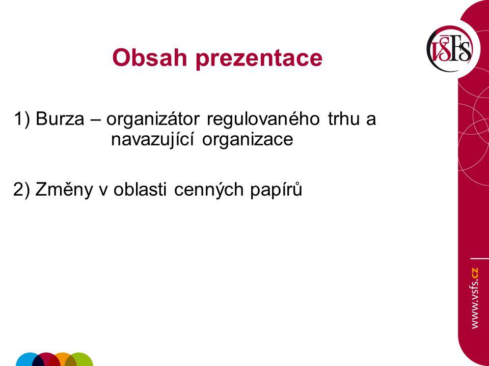 Obsah prezentace 1) Burza – organizátor regulovaného trhu a navazující organizace 2) Změny v oblasti cenných papírů