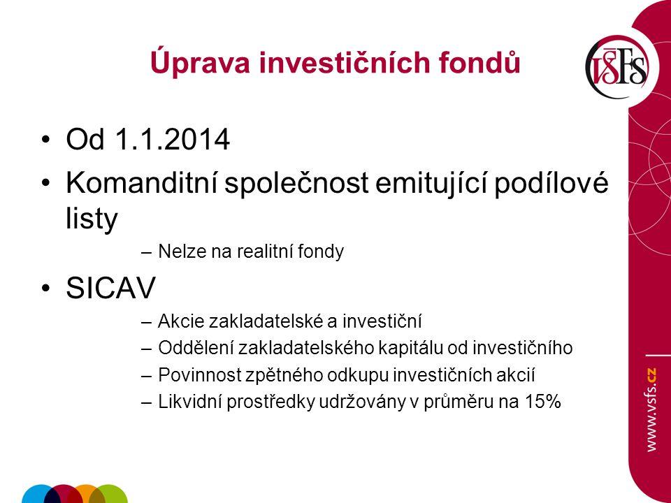 Úprava investičních fondů Od 1.1.2014 Komanditní společnost emitující podílové listy –Nelze na realitní fondy SICAV –Akcie zakladatelské a investiční